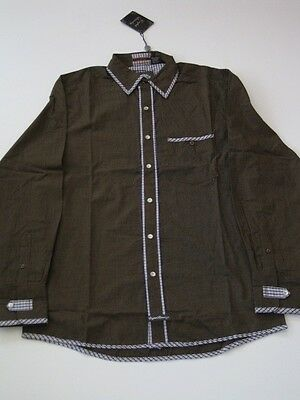 Cedric Brown Plaid English Laundry LS SHIRT LONGSLEEVE BUTTON UP CHECK L Large
