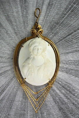 Antique Large White Lava Cameo Pendant Necklace Wire Wrapped