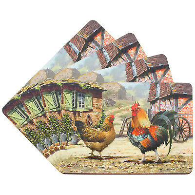 Set Of 4 Cork Backed Cockerel And Hen Rectangle Placemats Dinner Table Setting