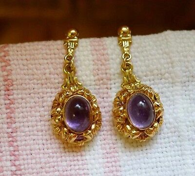 Antique Vintage 18k Gold Drop Earrings With Amethyst Cabochons