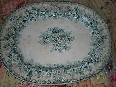 Very old green and  white serving platter