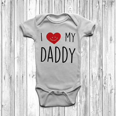 I Love My Daddy Baby Grow Body Suit Vest Cute Heart 0-18 Months Fathers Day