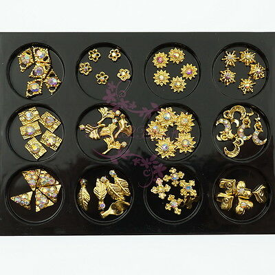 AB Rhinestones Geometry Leaf Flower Gold Plated Alloy Charms Nail Art 3D Decor