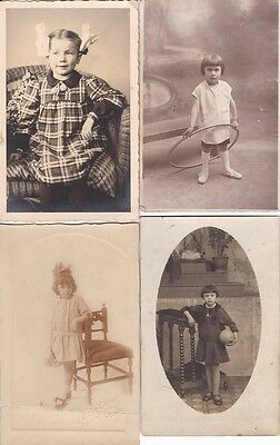 Four Antique Real Photo Postcards / RPPC - Children, Little Girls, Toys, Fashion