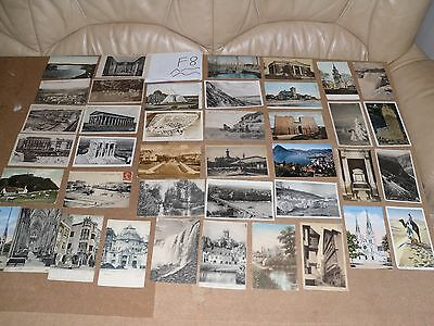 Job Lot Mix 40 Different Old Foreign Postcards 15 Posted Stamps Black & White F8
