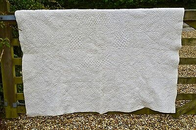 Vintage Antique Hand Sewn White Rare Welsh / Durham Quilt Wool Lined