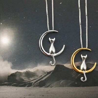 Lady Simple Silver Plated Cat On Moon Pendant Animal Clavicle Chain Necklace