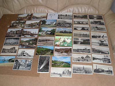 Job Lot Mix 40 Different Old Foreign & Uk Postcards 6 Posted Stamps B&w Mix1