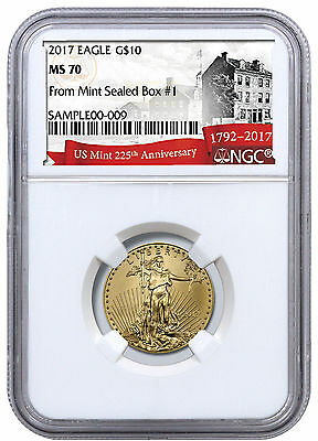 2017 1/4 oz Gold American Eagle $10 From Monster Box #1 NGC MS70 225th SKU47975