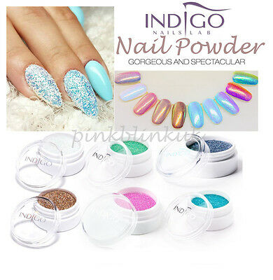 Indigo Mermaid Effect  Pixel Effect Manix Chrome Chameleon Holo Nail Powder Dust