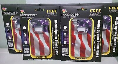 New! Lot of 5 Headcase Red White Blue USA Bottle opener Case for iPhone 4/4S