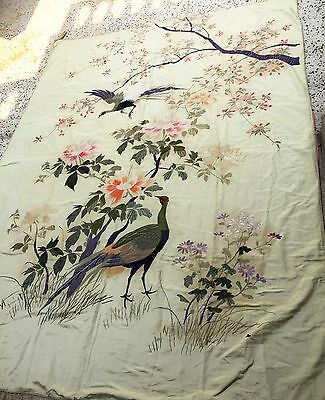 Antique Chinese Silk Rare Hand Embroidery Textile Wall Hanging Peacock Stun Art