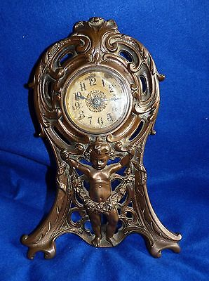 Antique Western Clock Mfg. Art Nouveau Metal Mantle Clock - Illinois - USA