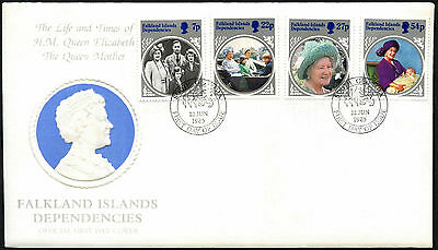 Falkland Islands Dep. 1985 The Queen Mother FDC First Day Cover #C42357
