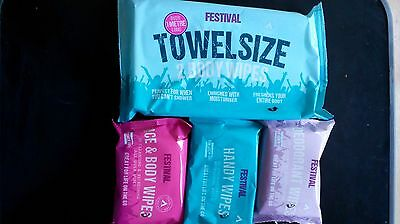 Festival Freshen Up Kit -Towel size body wipes, Face, Deodorant and Handy wipes