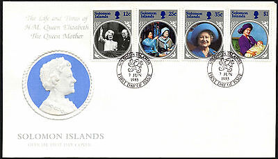 Solomon Islands 1985 The Queen Mother FDC First Day Cover #C42375
