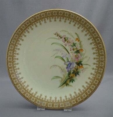 "c1905 ANTIQUE Royal Worcester HAND PAINTED Flower Spray Bouquet 9"" Plate Dish"