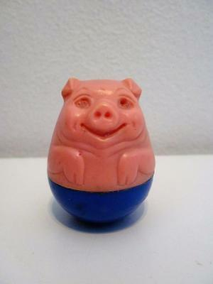 Vintage Airfix Weebles Pink & Blue Pig Animal Wobble Toy Figure 1970s