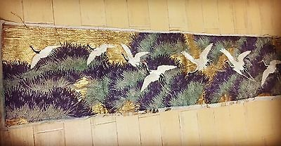 Antique Chinese Silk Hand Embroidered Qing Dynasty Textile Rare Swan Wall Art C