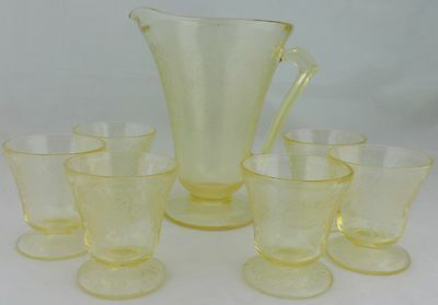 Vintage Depression Style Light Yellow Glass Lemonade Set Pitcher Cups 7 Pc