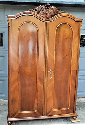 Antique Armoire Break Knock Down Wardrobe WALNUT Carved Top Oak Wood Closet