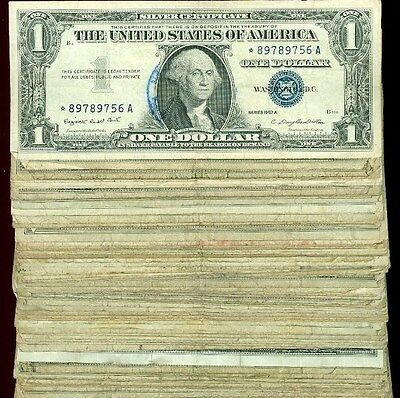 (50) 1935 1957 $1 SILVER CERTIFICATE STAR NOTE LOT all star notes
