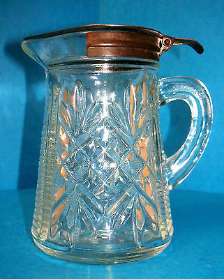 1940's Anchor Hocking Syrup Dispenser Pressed Glass Clear With Hinged Lid