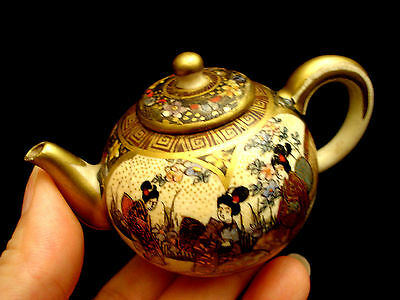 "2"" H MARKED Izan JAPANESE MEIJI PERIOD SATSUMA MINIATURE TEA POT"