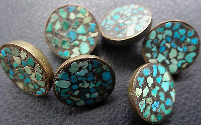 antique set of 6 turquoise mosaic inlay buttons -C575