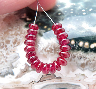 """RARE BEAUTIFUL AAAAA AFRICAN GEM CHERRY RED RUBY BEADS 1.45"""" 5.75cts VIBRANT"""
