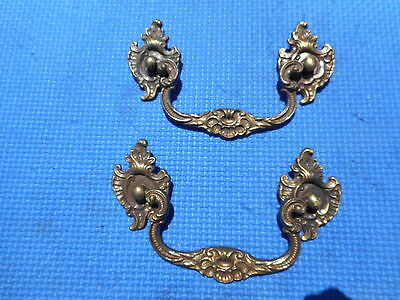 Nice Pair of Antique Solid Brass Drawer Dresser Furniture Hardware Pulls VNTG