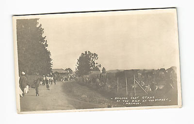 c1910 RPPC Bullock Cart Stand at the back of the Market Maymyo Burma