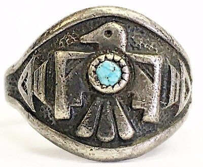 Vintage Sterling Silver Bell Trading Post Thunderbird Ring w/ Turquoise SZ 6.5