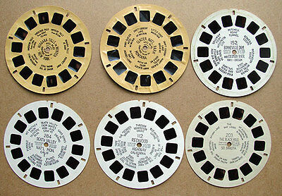 6 Early Vintage Large Print View-Master Travel Destination Reels