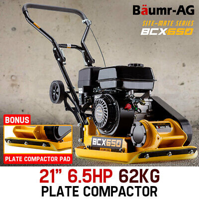 "NEW BAUMR-AG 21"" Plate Compactor 6.5HP Industrial Wacker Packer Rammer w/ Wheels"