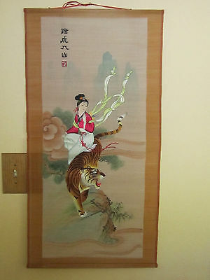 OLD Japanese Silk Scroll Geisha embroidery Painting picture BEAUTIFUL signed