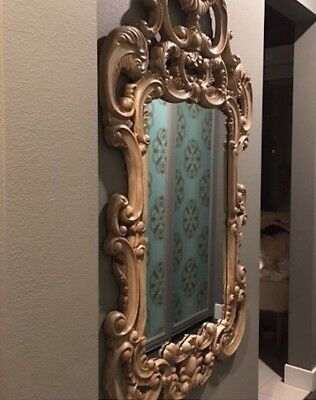"XL 72"" Ornate Scroll French Victorian Carved Vintage Oak XL Wall Dressing Mirror"
