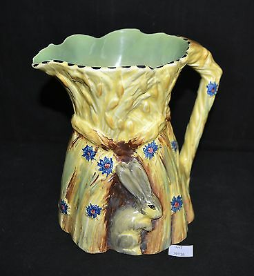 ThriftCHI ~ Burleigh Ware Ceramic Pitcher Bunny w Wheat Stack Shape