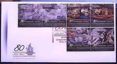 Mexico 2013 FDC University Nuevo Leon 80th Anniv Math Theatre Mural Einstein XF