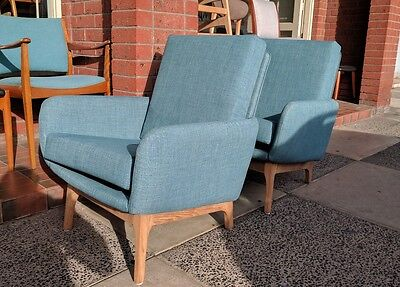Retro Danish Deluxe Chairs Recovered x2