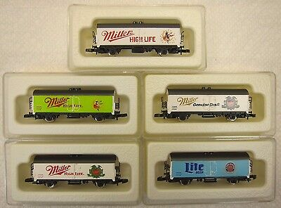 MARKLIN MINI-CLUB Z SCALE LIMITED EDITION MILLER BEER CARS-5ea UNRUN-BEAUTIFUL!