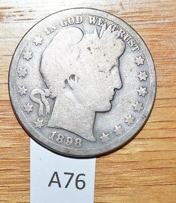 1898 O Silver Barber Half Dollar- Clear Date and Mint Mark (A76)