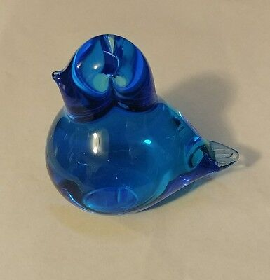 Vintage Blue Bird of Happiness Glass Figurine Paperweight