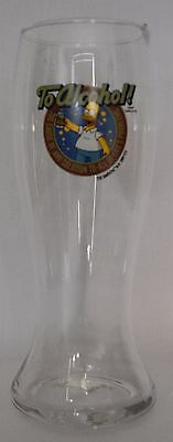 HOMER SIMPSON Tall 21.5 cm Beer Glass (c 2009)  'To Alcohol!' EC