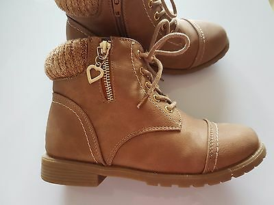 Girl's Ankle Shoes Boots Leather Winter Warm Waterproof Fashion Zip Size 2