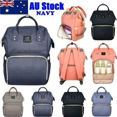 LAND Fashion Nappy Mummy Backpack Diaper Bag Baby Newborn Tote Shoulder Bag-Navy
