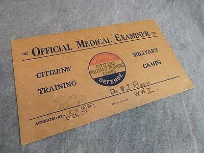 WWI Citizens Military Training Camp Sign for Official Medical Examiner
