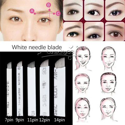 Microblading Permanent Manual Eyebrow Make Up Tattoo Curved Bevel Blade Needles