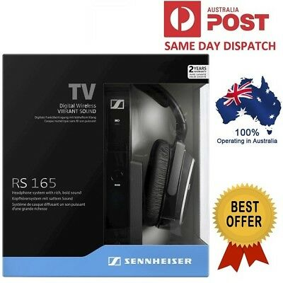 Sennheiser RS165 RS 165 RF Wireless TV Headphones System Closed Back Bass Boost