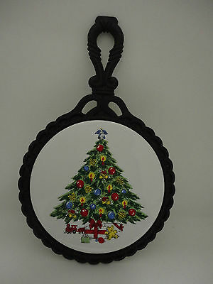 Christmas Tree Trivet Sabin Decorated Ceramic Cast Iron Pre-owned
